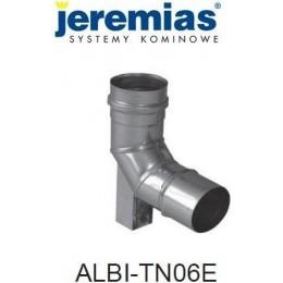 JEREMIAS  kolano spalinowe z podporą 87° fi 120, stal nierdzewna