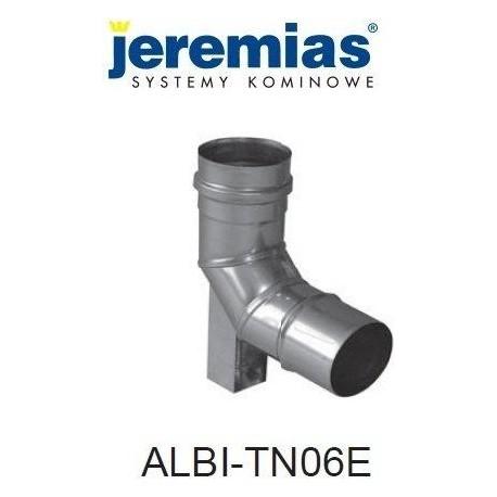 JEREMIAS kolano spalinowe z podporą 87° fi 130, stal nierdzewna